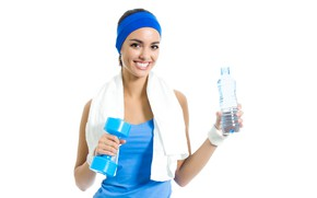 Picture look, water, girl, pose, smile, bottle, towel, hands, makeup, Mike, brunette, hairstyle, white background, headband, …