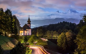 Picture road, clouds, trees, landscape, mountains, nature, the evening, Germany, Bayern, lighting, Alps, Church, forest, Berchtesgaden, …