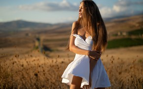 Picture girl, cleavage, dress, field, breast, photo, photographer, model, lips, brunette, chest, white dress, portrait, mouth, …
