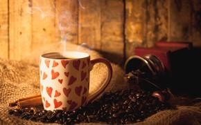 Picture Coffee, hearts, coffee beans, mug