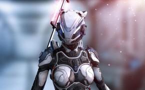 Picture girl, future, technology, warrior, future, helmet, girl, cyborg, protective suit, blurred background, progress, warrior, fantasy …