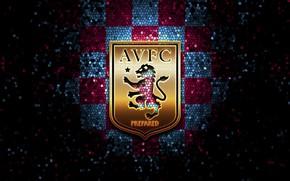 Picture wallpaper, sport, logo, football, glitter, checkered, Aston Villa