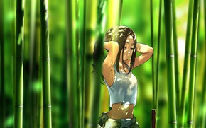 Picture girl, bamboo, art