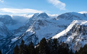 Picture winter, forest, the sky, the sun, clouds, snow, trees, mountains, blue, rocks, height, Switzerland, gorge, ...