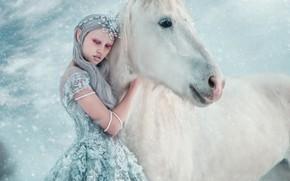 Picture winter, girl, horse, horse, photographer, Princess, Maria Lipina