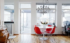 Picture interior, kitchen, balcony, dining room