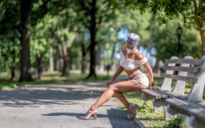 Picture girl, mask, bench, Jane