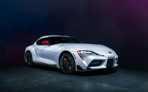 Picture background, white, front view, Toyota Supra