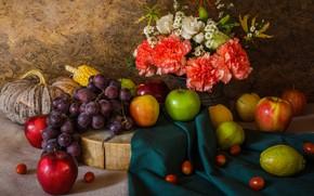 Picture flowers, apples, bouquet, grapes, pumpkin, fruit, still life, vegetables, pear, flowers, fruit, grapes, still life, …