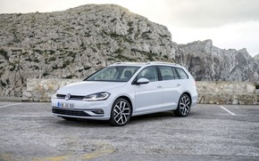 Picture mountains, Volkswagen, Parking, universal, 2017, Golf Variant, white-gray
