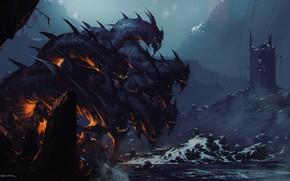 Wallpaper Winter, Mountains, Tower, Rocks, Monster, Battle, The demon, Fantasy, Art, Fiction, War, Omar Bronze, by ...