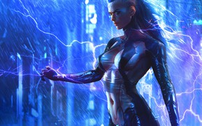 Wallpaper girl, the game, art, cyborg, Cyberpunk 2077