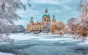 Picture winter, trees, Park, the building, Germany, Germany, Hanover, New Town Hall, New Town Hall, Hanover, …