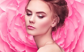 Picture look, background, model, portrait, makeup, hairstyle, brown hair, beauty, bare shoulders, Oleg Gekman