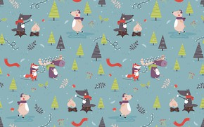Picture new year, holidays, animals, art, pattern, textures, funny, bears, foxes, 4k ultra hd background