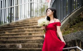 Picture girl, bouquet, dress, Asian