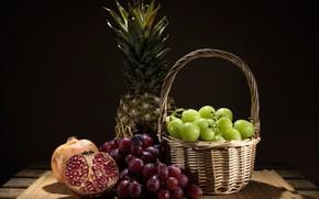 Picture table, background, basket, grapes, fruit, pineapple, garnet