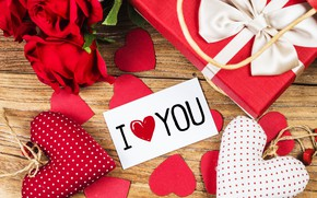 Picture love, flowers, gift, heart, roses, red, love, romantic, hearts, valentine's day, gift, roses, I love ...