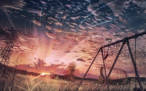 Picture the sky, sunset, swing