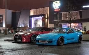 Picture City, Mazda, Cars, Rain, RX-7, Nissan GT-R, Mazda RX-7 widebody
