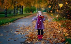Picture autumn, leaves, nature, violin, girl, alley, child, Постонен Екатерина