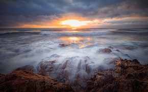 Picture sea, wave, the sky, the sun, clouds, light, stones, rocks, dawn, coast, morning, surf