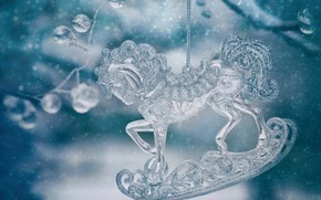 Picture snowflakes, Christmas, New year, glass, figure, crystal, horse