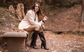 Picture look, brown hair, legs, boots, sitting, coat, Nadia