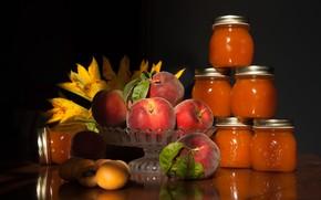 Picture light, flowers, table, jars, banks, fruit, peaches, jam, jam, apricots, vase, billet, peach