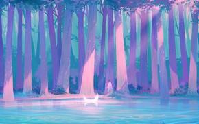 Picture girl, night, fantasy, pond, Crescent