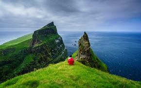 Picture the ocean, rocks, Denmark, Faroe Islands, greatness