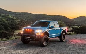 Picture sunset, lights, Ford, Raptor, pickup, F-150, Hennessey, 2019, VelociRaptor V8