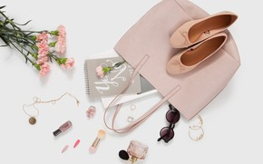 Wallpaper flowers, style, perfume, glasses, shoes, decoration, bag, cosmetics