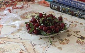 Picture macro, cherry, foliage, books, tablecloth