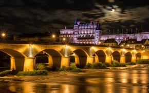 Picture night, bridge, the city, river, castle, France, lighting, Loire, Amboise