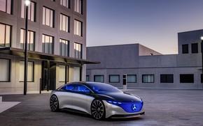 Picture photo, Mercedes-Benz, Car, Silver, 2019, Vision EQS