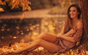 Picture autumn, leaves, girl, pose, smile, mood, dress, legs, shoulder, Finus, Robert Wypiór