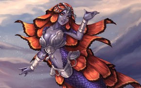 Picture sea, chest, girl, fantasy, mermaid, scales