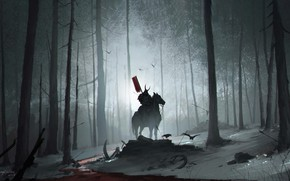 Picture Night, Trees, Forest, Horse, Warrior, Samurai, Warrior, Night, Samurai, Rider, Forest, Horse