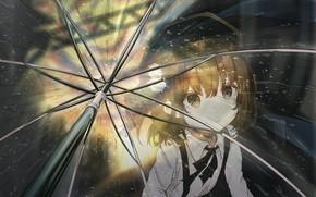 Picture look, umbrella, girl, Virtual Youtuber