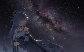 Picture the sky, girl, night, the milky way, Honkai Impact 3, Azure Empyrea