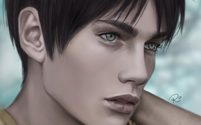 Picture look, figure, portrait, guy, Attack Of The Titans, Shingeki No Kyojin, Eren Yeager, by redwarrior3