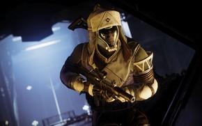 Picture weapons, background, hat, soldiers, helmet, equipment, machine gun, Destiny 2, Destiny 2: Shadowkeep