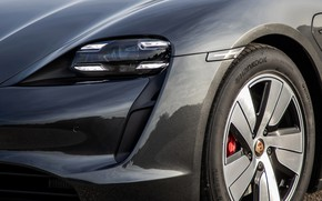 Picture black, headlight, wheel, Porsche, bumper, 2020, Taycan, Taycan 4S