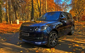 Picture Land Rover, autumn day, blue SUV