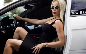 Picture machine, auto, girl, pose, watch, hands, dress, glasses, Andrew Stern, Agnetha Royal