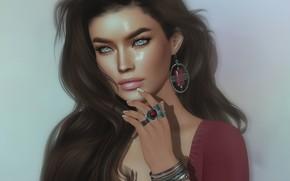 Picture girl, face, rendering, hair, brunette