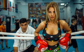 Picture chest, look, girl, pose, coach, boxer, Boxing gloves, Dmitry Filatov