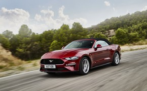 Picture Ford, convertible, 2018, dark red, the soft top, Mustang Convertible
