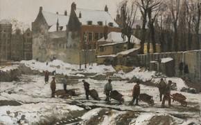 Picture Georg Hendrik Breitner, Construction Site in Amsterdam, George Hendrik Breitner, Museum of art Cleveland, Oil …